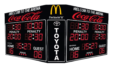 Four sided hockey scoreboard model 9785-4